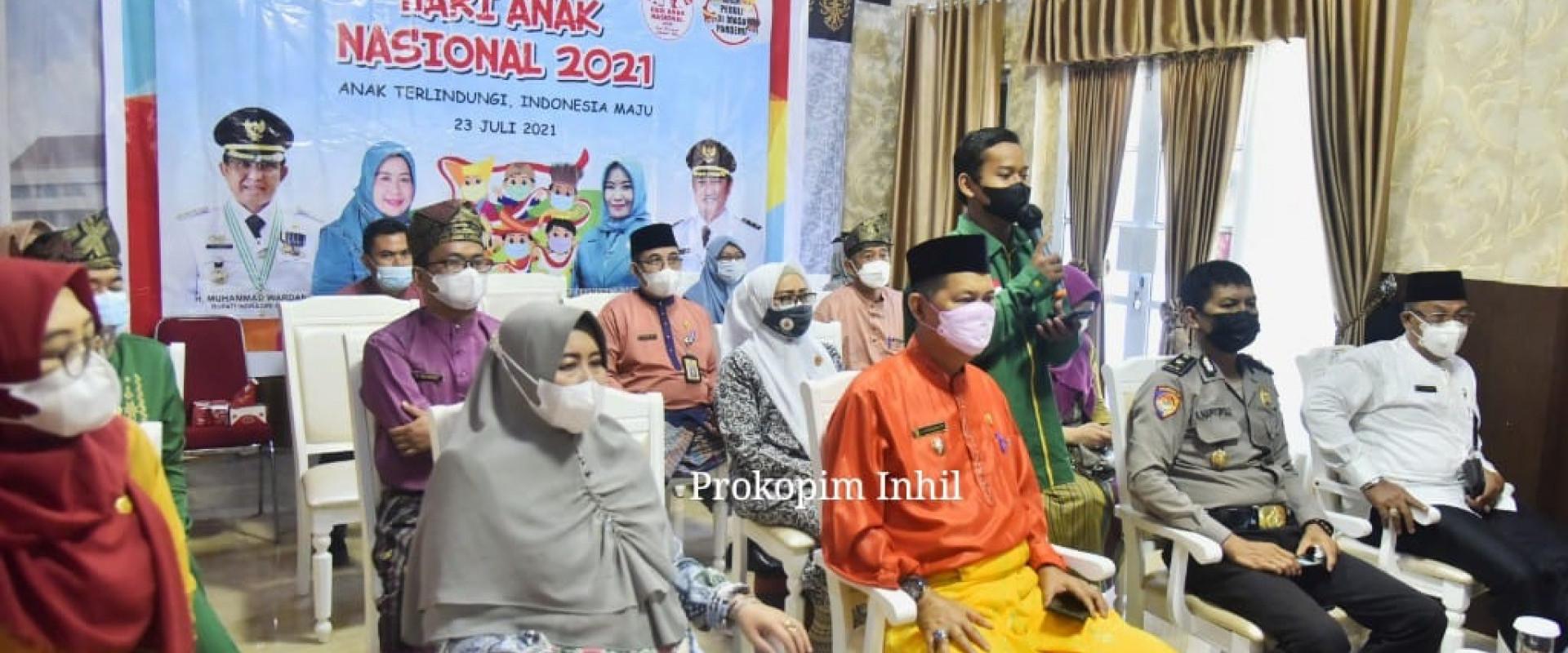 Wabup Inhil ikuti Peringatan Hari Anak Nasional (HAN) TH 2021 tingkat Provinsi Riau secara Virtual